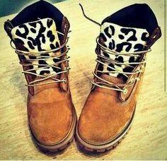 Leopard Print Timb boots by batjas88