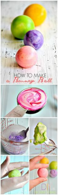 How to make a bouncy ball! These seem to multiply at our house, but I know my kids would love the process of making one!