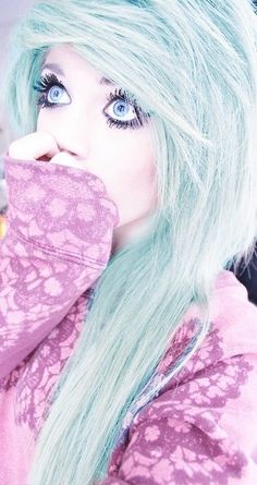 Mint green scene hair.