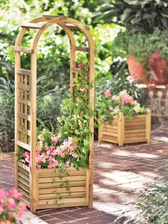 Louvered Wooden Planter with Trellis - Gardener's Supply Company