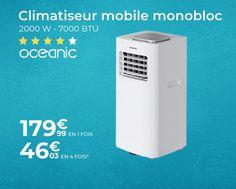 OCEANIC Climatiseur mobile monobloc - 2000 W - 7000 BTU - Programmable - Classe énergétique A - Blanc - 🤩 Découvrir ici - #Climatiseur #cdiscount #climatiseurpascher #climatiseurmobile #Oceanic
