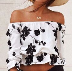 Floral off the shoulder--  Pair with high waisted denim skirt for summer perfection!