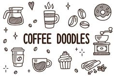 Vector coffee doodles Graphics Hand drawn coffee themed drawings: cups, pots, desserts and many other related items! Adorable sketc by Irina MirVector coffee doodles Art Drawings Sketches Simple, Art Drawings For Kids, Doodle Drawings, Easy Drawings, Doodle Art, Doodle Icon, Drawing Cup, Coffee Drawing, Simple Doodles