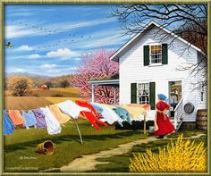 On The Wind - John Sloane Gallery - This Old Farmhouse. Arte Country, Country Life, Country Living, Amish Country, Country Kitchen, Foto Gif, Animation, Farm Life, Belle Photo