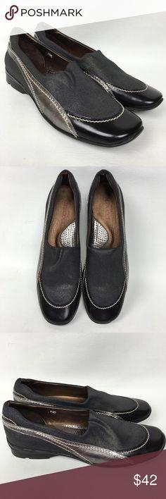 Sesto Meucci Black /gray Metallic Leather/Fabric Never Used. Sesto Meucci Shoes Flats & Loafers