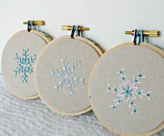 Christmas Ornament Hoop Art Snowflake Hostess Gift Natural Linen Hand Embroidery