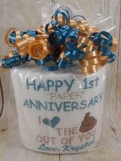 Custom made just for the special person in your life. Perfect for the couple on their 1st anniversary! Yes this is embroidered directly on the roll of tp. IF I HAVE THE INFORMATION I NEED - MOST ORDERS ARE MADE AND SHIPPED WITHIN 24 HOURS.  Feel free to be creative and let me know if you want different colors. Here are links to my thread colors. ( You have to copy and paste) http://metroemb.com/sigmaRGB.pdf http://www.metroemb.com/MetroChart.pdf  The perfect gift...