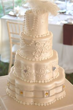 Sweet Memories Cakes and Catering - Dallas Cakes - Glam wedding cake with jewels and pearls