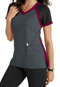 Greys Anatomy 3 Pocket Color Block V-neck Scrub Tops Main Image Scrubs Outfit, Scrubs Uniform, Spa Uniform, Cute Scrubs, Greys Anatomy Scrubs, Medical Uniforms, Medical Scrubs, Nursing Scrubs, Womens Scrubs