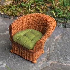 Wicker-Chair-Brown-Green-for-Miniature-Garden-Dollhouse
