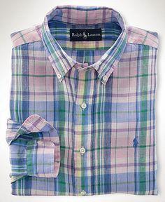 Polo Ralph Lauren Big and Tall Shirt, Classic-Fit Plaid Linen Shirt - Mens Casual Shirts - Macy's