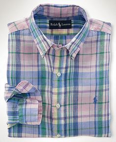 Polo Ralph Lauren Big and Tall Shirt, Classic-Fit Plaid Linen Shirt - Mens Casual Shirts - Macy's