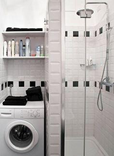 waschmaschine nische fertigduschkabine kleines bad ideen
