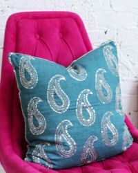 Turquoise Stitched Paisley Pillow cowboys and indians room