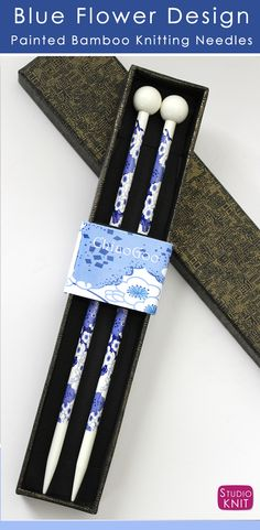 Painted Bamboo Knitting Needles with Blue Flower Design ChiaoGoo | Studio Knit