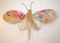 Moth made from old embroidery by MisterFinch on Etsy