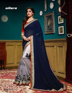 Designer Saree Partywear Indian Pakistani Wedding Bollywood Sari Ethnic Dress #TanishiFashion #DesignerSaree