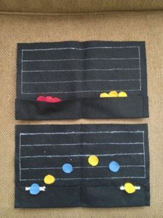 I made a classroom set of these felt staves that I now use in my Studio. The pocket stores the felt note heads and yarn ledger lines. Great for reinforcing the learning of lines/spaces and composing. I love manipulatives and variety! #WestMusic and #InspireMyClass