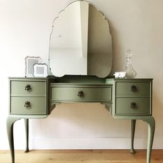 SOLD - Vintage Queen Ann Style Dressing Table and Mirror - Sage Green decor Vintage Upcycled Furniture, Painted Furniture, Bedroom Furniture, Home Furniture, Bedroom Decor, Decoupage Furniture, Furniture Dolly, Farmhouse Furniture, Furniture Outlet