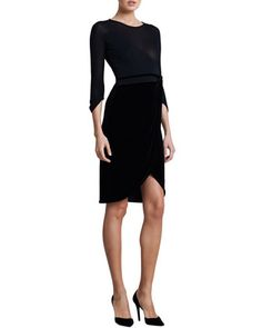 Three-Quarter-Sleeve Combo Dress, Black by Giorgio Armani.