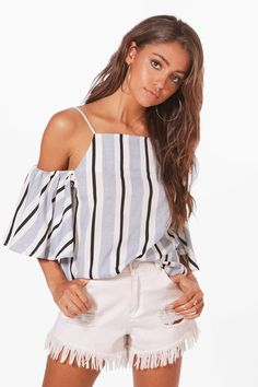 1e1745eb5ca02 Ellie Woven Cold Shoulder Stripe Top