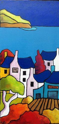 """La crêperie de Will par Fabinonzoli - 236 × 496 cm- """"Née en france en mai 1968 dans la région bretonne, ... sa peinture majoritairement à l'acrylique colorée et généreuse ou mixte. Elle utilise le couteau, le pinceau et les doigts pour chacune de ses toiles. Pour ses créations abstraites, elle combine la peinture avec des matières comme le marc de café, la cendre, la colle... Primée plusieurs fois à solidor peinture..."""" Cf. https://www.galerietyaven.fr/peintres/fabinonzoli/"""