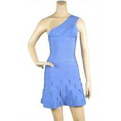 Herve Leger Chic Blue One Shoulder Ruffled Hem Bandage Dress