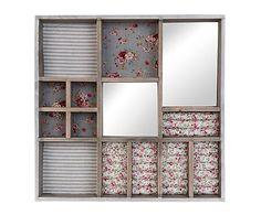 Caja joyero de madera y algodón Roses - 40x40 cm