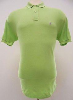Polo Ralph Lauren Polo Shirt L Neon Green Men Purple Pony Logo Cotton Mens Large #PoloRalphLauren #PoloRugby