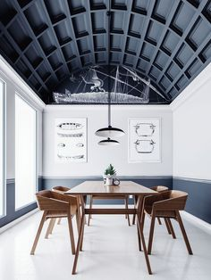 웨인스콧팅 벽이 아니어도 충분히 예쁨How to do dark ceilings the right way | The most incredible panelled dark blue ceiling | VWArtclub - Shanghai BIM