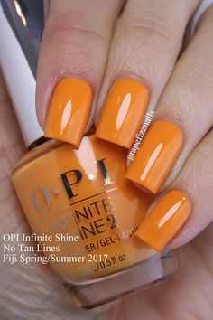 I have the brand new OPI Infinite Shine Fiji Collection for Spring/Summer 2017 to show you today! Opi Nail Polish Colors, Orange Nail Polish, Opi Nails, Toenail Polish Designs, Toe Nail Designs, Cute Nails, Pretty Nails, Summer Toe Nails, Manicure Y Pedicure
