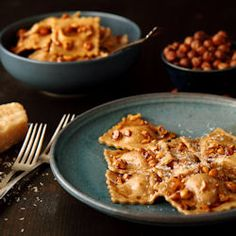 Pumpkin Ravioli with Hazelnut Brown Butter Sauce and Balsamic Drizzle - my new favorite fall dish!