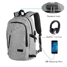 9c91ab4152 WAGOLO Laptop Backpack with USB Charging Port