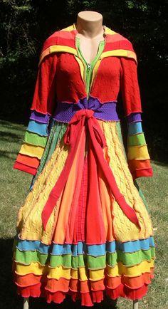 rainbow coat | rainbow elf coat recycled upcycled fairy pixie dream sweater