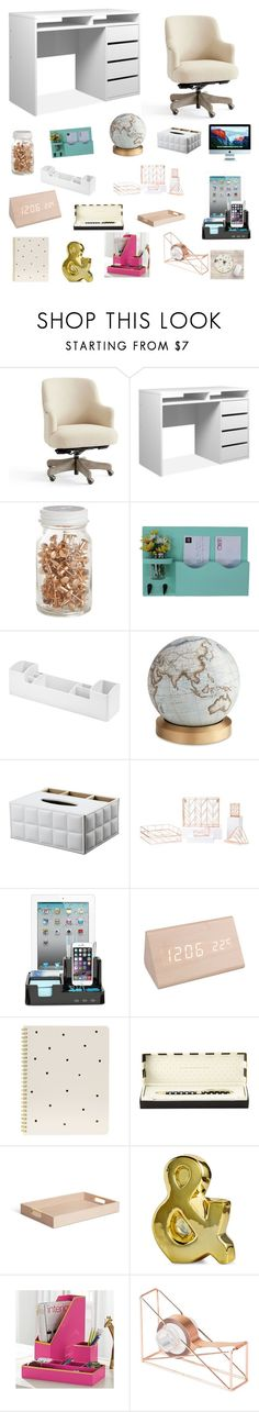 """""""Desk with Decor"""" by rissa-marie-2005 ❤ liked on Polyvore featuring interior, interiors, interior design, home, home decor, interior decorating, Pottery Barn, Bellerby & Co, U Brands and Sugar Paper"""