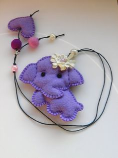 Felt bookmark with a lilac elephant / felt toy/ gift by Marywool, $13.00