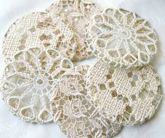 Lace-covered coaster; repurposed cutter tableclothes or curtains