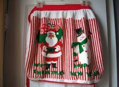 Christmas  Apron Terry Cloth Apron Santa by VintagePlusCrafts, $6.00