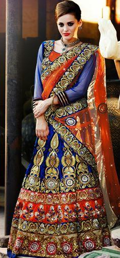 Blue and orange velvet lehenga choli: KLH2311