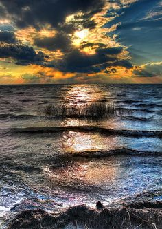 Radical Sunset on Pamlico Sound on the Outer  Banks of North Carolina, USA . Photo by Dan Carmichael