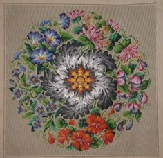LOVELY ANTIQUE HAND PAINTED BERLIN TAPESTRY PATTERN. WREATH ASSORTED FLOWERS.(D)
