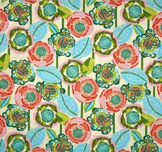 Quilting Fabric Splendor Double Fault Flora Cherry by Amy Butler