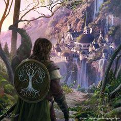(Boromir llega a Rivendell, según el artista español Joshua Cairós)