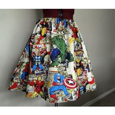 Colorful Avengers Comic Book Superhero Skirt, Avengers Clothing, Superhero Clothing, Womens Skirts, Novelty Skirts, Avengers Skirts