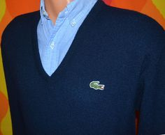 70s vintage golf sweater v-neck LACOSTE izod alligator jumper naby blue Large grandpa soft 80s