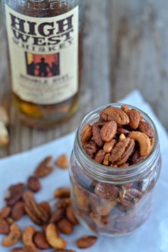 Sweet and savory Whiskey Roasted Nuts with High West Whiskey and local honey. mountainmamacooks.com