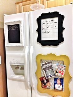 Pinterest Tuesday: DIY Fridge Frame Organization | Junk in the Trunk -Gonna make a couple of these to go on my ugly metal file cabinets at work to pretty them up and display my kids' art, pix and notes to me! If I have to stare at them all day, might as well make them cuter! ;)