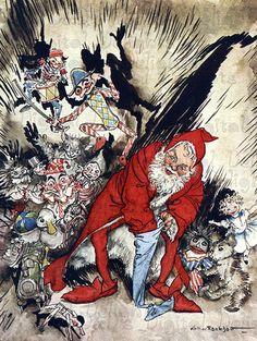Creepy Little Claus.  VINTAGE Santa Christmas Illustration. Christmas DIGITAL Download. $1.99, via Etsy.