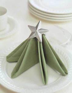Tree napkin fold. Perfect for the Holidays!