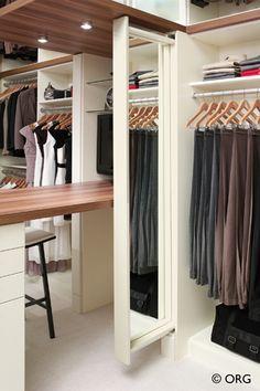 Space-efficient hidden mirror in the closet, HomeORG.com.